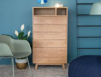 Copenhagen Solid European Oak Tall Boy Chest of Drawers by Bent Design image