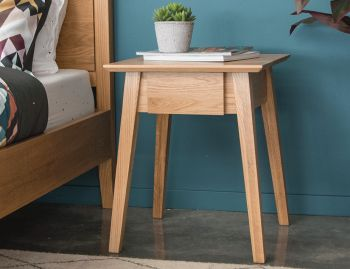 Copenhagen Solid European Oak Bedside Table w Draw by Bent Design image