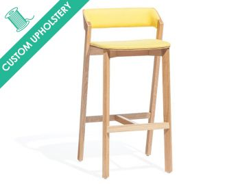 Merano Natural Oak Bar Stool with Custom Upholstery by Alex Gufler for TON image
