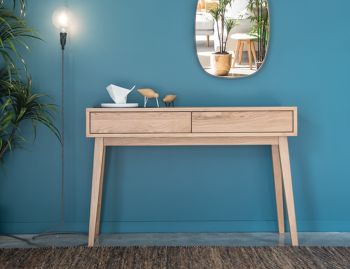 Copenhagen Solid European Oak Hall Entrance Console Table with 2 Draws by Bent Design image