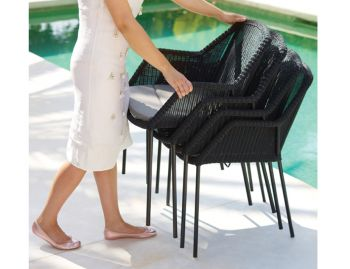 Black Breeze Outdoor Stackable Dining Chair by Strand & hvass For Cane-line image