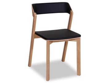 Merano Natural Oak Stackable Dining Chair w Black Pad by Alex Gufler for TON image