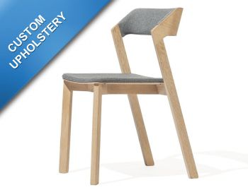 Merano Natural Oak Stackable Dining Chair with Custom Upholstry by Alex Gufler for TON image