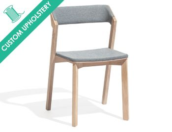 Merano Natural Oak Stackable Dining Chair with Custom Upholstery by Alex Gufler for TON image