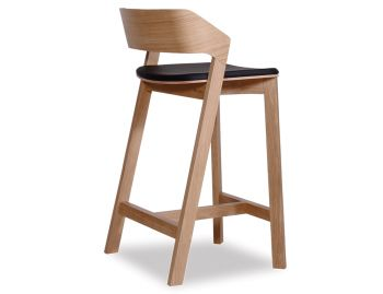 Merano Natural Oak Bar Stool w Black Pad by Alex Gufler for TON image
