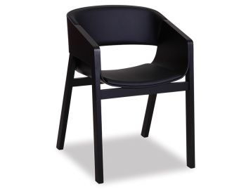 Merano Black Stained Beechwood Armchair with Black Pad by Alex Gufler for TON image