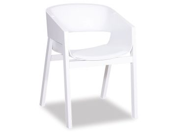 Merano White Stained Oak Armchair with White Pad by Alex Gufler for TON image