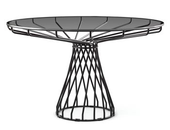 Velletri Black 120cm Smoke Glass Indoor Outdoor Dining Table by Glid Studio for Huset image