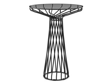 Velletri Black 76cm Glass Indoor Outdoor High Bar Table by Glid Studio for Huset image