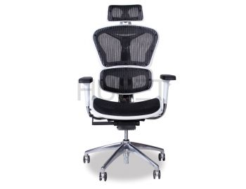 Vytas Chrome  ErgoMesh Black Mesh / White Plastic Ergonomic Office Chair with Headrest image