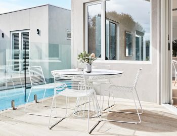 Velletri White 120cm HPL Board Indoor Outdoor Dining Table by Glid Studio for Huset image