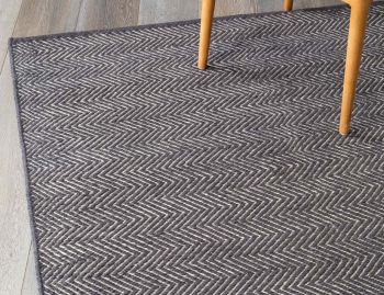 Herringbone Wool Weave Rug Charcoal and Limestone by Armadillo&Co image