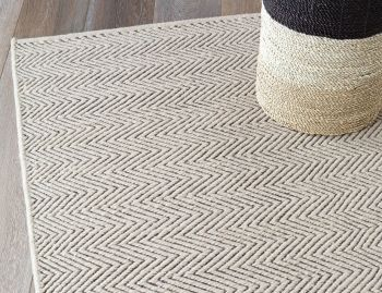 Herringbone Woll Weave Limestone and Charcoal Rug by Armadillo&Co image