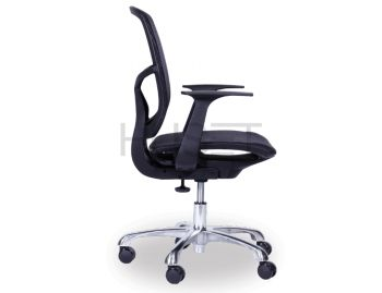 Chilli Chrome ErgoMesh Black Mesh / Black Plastic Ergonomic Office Chair with Low Back by Huset  image