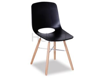 Wasowsky Dining Chair Black with Solid Beechwood Legs by Enrique Marti for OOLand image