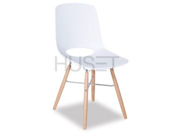 White Wasowsky Dining Chair with Solid Beechwood Legs by Enrique Marti for OOLand image