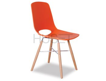 Wasowsky Dining Chair Orange with Solid Beechwood Legs by Enrique Marti for OOLand image