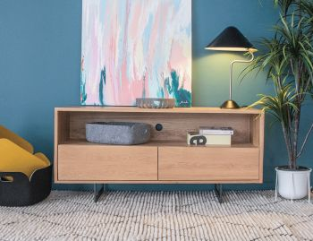 Odense 130cm Black Steel Leg Solid European Oak TV Unit by Bent Design image