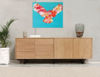 Odense Black Steel Leg Solid European Oak 220cm Sideboard Buffet by Bent Design image