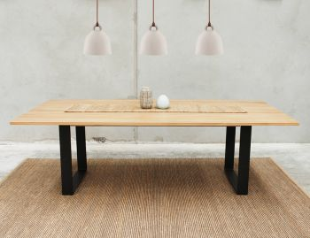 Odense Box End Steel Leg Solid European Oak 2400x1200 Dining Table by Bent Design image