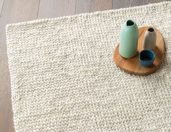 Sierra Wool and Viscose Weave Chalk Rug by Armadillo&Co image