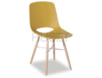 Wasowsky Dining Chair Mustard Gold with Beechwood Legs by Enrique Marti for OOLand image