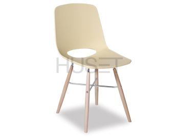 Soft Yellow Wasowsky Dining Chair with Solid Beechwood Legs by Enrique Marti for OOLand image