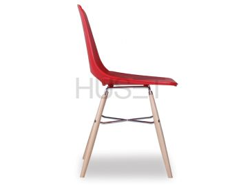 Wasowsky Dining Chair Red with Solid Beechwood Legs by Enrique Marti for OOLand image