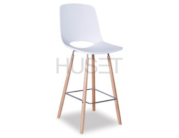 Wasowsky Bar Stool White with Solid Beechwood Legs by Enrique Marti for OOLand image