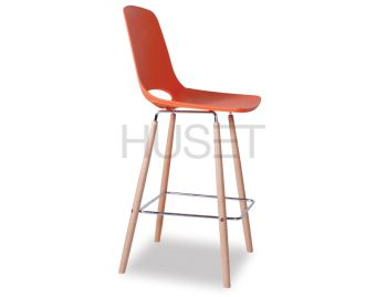 Wasowsky Bar Stool Orange with Solid Beechwood Legs by Enrique Marti for OOLand image
