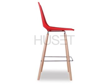 Wasowsky Bar Stool Red with Solid Beechwood Legs by Enrique Marti for OOLand image