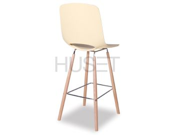 Soft Yellow Wasowsky Bar Stool with Solid Beechwood Legs by Enrique Marti for OOLand image
