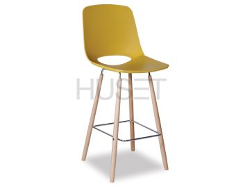 Wasowsky Bar Stool Mustard Gold with Solid Beechwood Legs by Enrique Marti for OOLand image