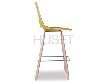 Mustard Gold Wasowsky Bar Stool with Solid Beechwood Legs by Enrique Marti for OOLand image