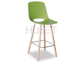 Green Wasowsky Bar Stool with Solid Beechwood Legs by Enrique Marti for OOLand image