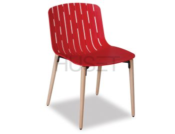 Gotcha Chair Red With Beechwood Legs by Enrique Marti for OOLand image