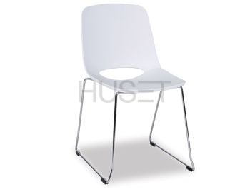 White Wasowsky Dining Chair with Chrome Sled Legs by Enrique Marti for OOLand image