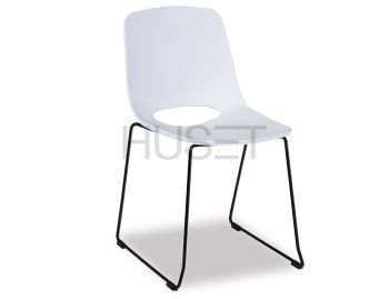 Wasowsky Dining Chair White with Black Powdercoated Sled Legs by Enrique Marti for OOLand image