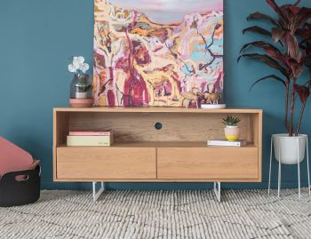 Odense White Steel Leg Solid European Oak TV Unit 2 Drawers by Bent Design image