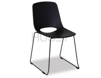 Wasowsky Dining Chair Black with Black Powdercoated Sled Legs by Enrique Marti for OOLand image