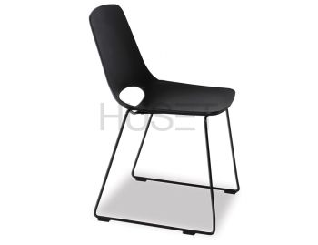 Black Wasowsky Dining Chair with Black Powdercoated Sled Legs by Enrique Marti for OOLand image