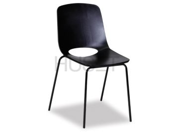 Black Wasowsky Dining Chair with Black Powdercoated Post Legs by Enrique Marti for OOLand image