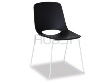 Black Wasowsky Dining Chair with White Powdercoated Post Legs by Enrique Marti for OOLand image