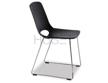 Black Wasowsky Dining Chair with Chrome Sled Legs by Enrique Marti for OOLand image