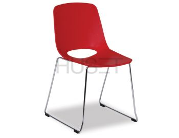 Wasowsky Dining Chair Red with Sled Legs by Enrique Marti for OOLand image