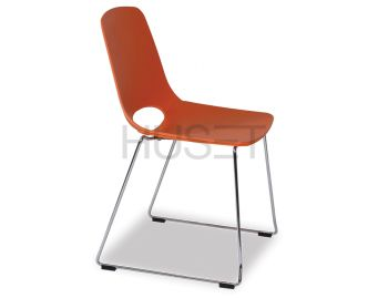 Wasowsky Dining Chair Orange with Sled Legs by Enrique Marti for OOLand image