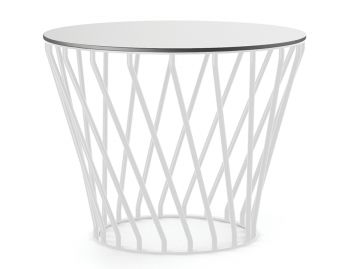 Velletri White 62cm HPL Board Indoor Outdoor Side Table by Glid Studio for Huset image