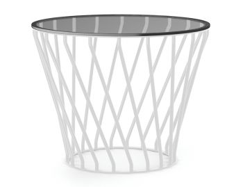 Velletri White 62cm Smoke Glass Indoor Outdoor Side Table by Glid Studio for Huset image