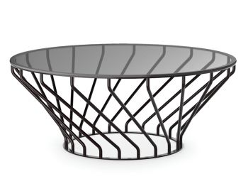 Velletri Black 92cm Glass Indoor Outdoor Coffee Table by Glid Studio for Huset image