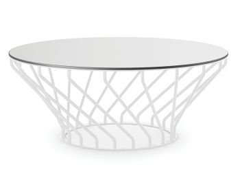 Velletri White 92cm HLP Laminate Indoor Outdoor Coffee Table by Glid Studio for Huset image